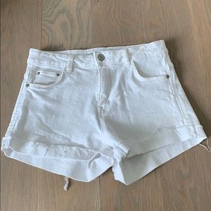 White Zara jean shorts